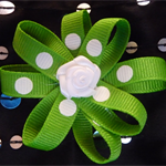 Hair Domayne bright green spotty hairclip with ribbon rose in centre