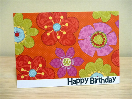 Bright and beautiful female Happy Birthday card with flowers