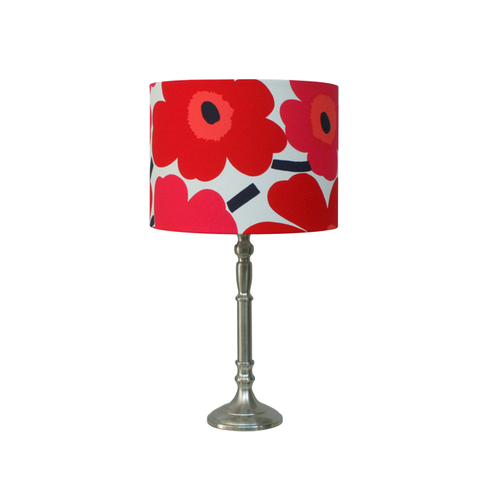 Marimekko Fabric Lampshade Table Lamp Floor Or Pendant Red Pink Flowers