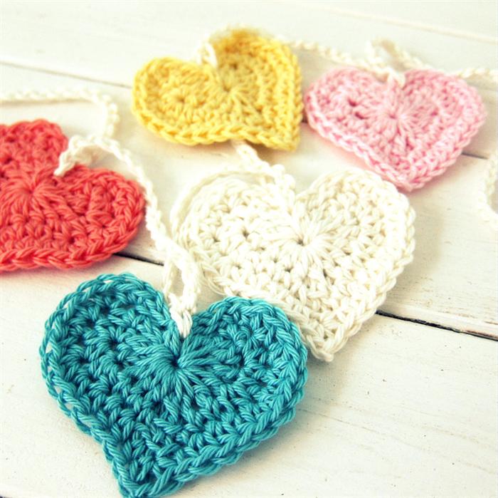 Love Crochet Heart Garland Pastel Hearts Nursery Decoration