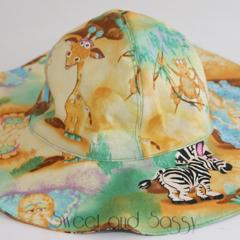 African Animals Floppy Straight Brim Sun Hat. Size 6-12 months