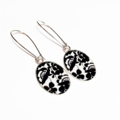 Black and White Floral Pattern Dangle Silver Resin Earrings