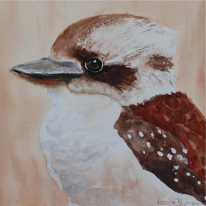 watercolour bird art australian animal prints Mother and Baby Kingfisher Print