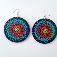 Mandala colourful rainbow hand painted earrings jewellery large free shipping