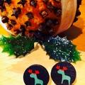 Laser Cut Wooden Christmas Reindeer Earrings
