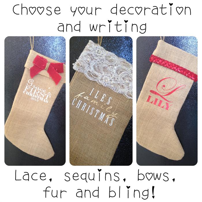 b98e926fee79 Gorgeous Custom 100% Hand-made Hessian Christmas Stockings.