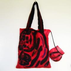 Felted  Shoulder Tote Handbag Red Black