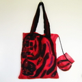 Felted  Shoulder Tote Handbag Red Black