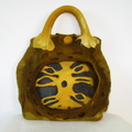 Felted  Handbag  Wool Handmade Art 3D Yellow Brown Violet