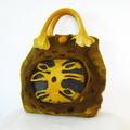 Felted  Handbag  Wool Handmade Art 3D Yellow Brown Violet