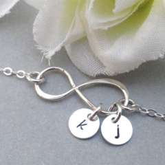 Personalized Infinity Bracelet With Two Initials - Sterling Silver Bracelet