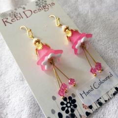 Pink Sherbet flower earrings