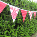 Nordic Christmas Fabric Bunting - Red and White - 3m