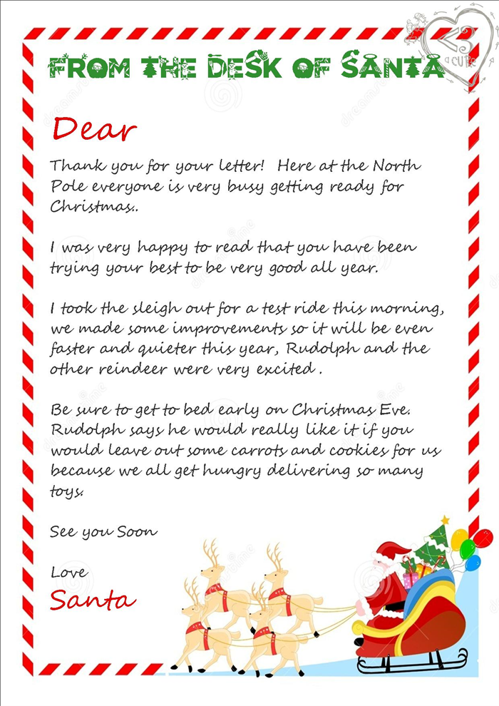 Slobbery image for free printable letter from santa