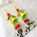 Green and red Christmas Angel earrings