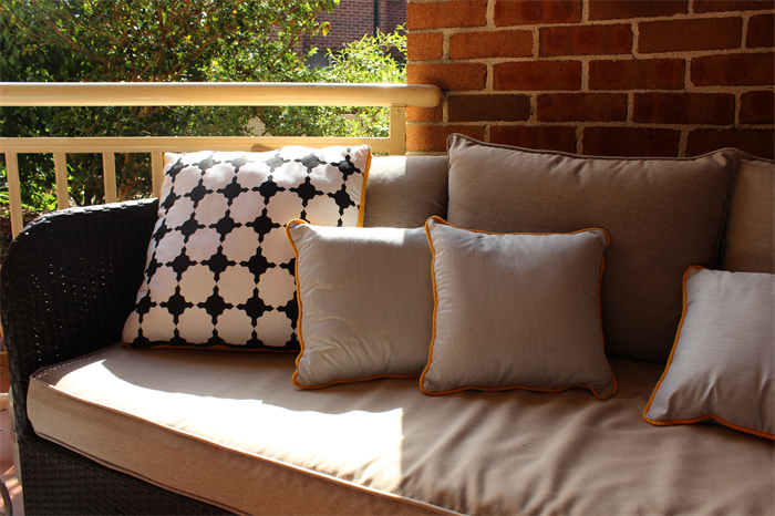 Black And White Stars With Yellow Gold Panel Extra Large Outdoor Cushion