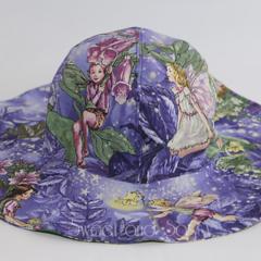 Floppy Straight Brim Sun Hat. 2 different fabrics. Size 6-12 months