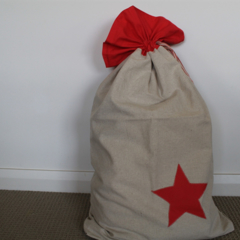 Santa Sack - Raw Linen with Red Linen Star Detail and Top