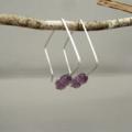 Purple Lavender Square Hoop Sterling Silver Czech Glass Simple Modern Earrings