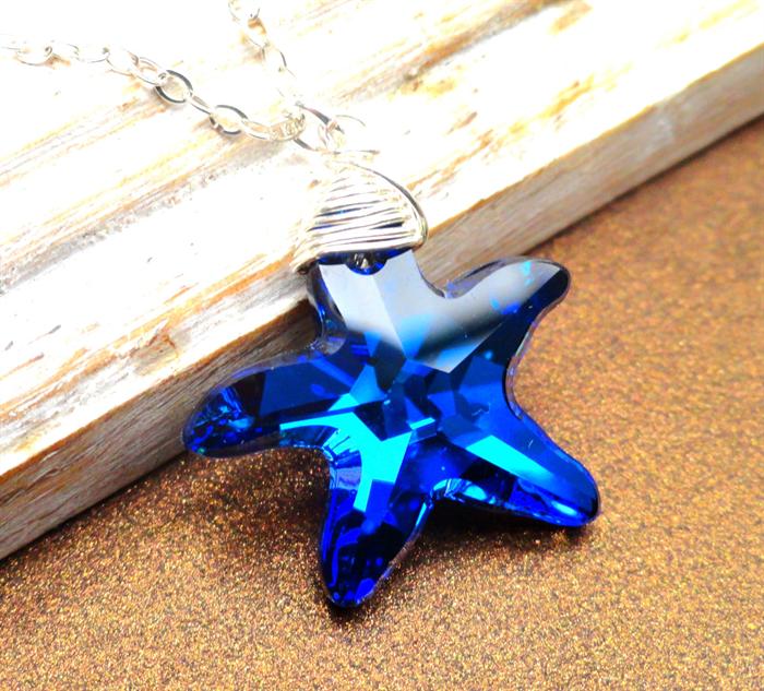 77abde2b9d567 Starfish Necklace Swarovski Crystal Bermuda Blue Starfish Sterling ...