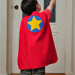 Superhero cape - circle and star. Red and yellow.