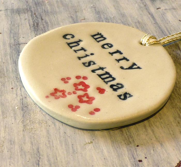 merry christmas ceramic tag christmas decoration handmade ornament - Christmas Ceramics