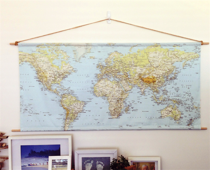 World map printed on fabric suspended by rope dowl st bon world map printed on fabric suspended by rope gumiabroncs Images