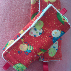 Strap covers for the car, pram or stroller.