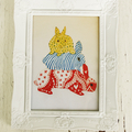 'Bunny Stack' Illustration Print in Fancy White Frame