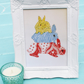 'Bunny Stack' Illustration Print in Fancy White Frame