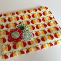 fabric zip zipper pouch gift idea girls ladies apple red green teacher gift