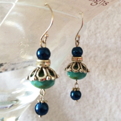 Deep Blue and turquoise Crystal  drop earrings