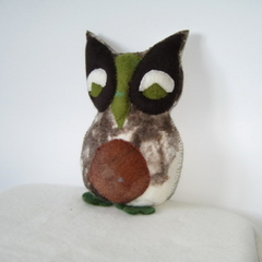 Owl Toy Felted Handmade brown green