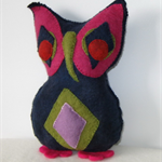 Owl Toy Felted Handmade dark blue green red