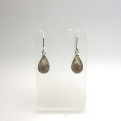 Smokey Quartz briolettes  sterling silver earrings