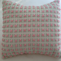 Vintage Chenille square cushion cover pink rosebuds mint and white
