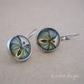 Green butterfly wing earrings