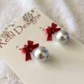 Silver pearl drops with Red bows