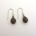 Smokey Quartz briolettes  sterling silver earrings