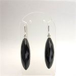 Large onyx briolettes and sterling silver earrings