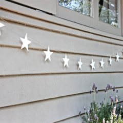 Outdoor Star Garland With 10 White Stars on Jute String - Christmas Decoration