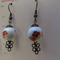 Painted Red Flower Beaded Earrings