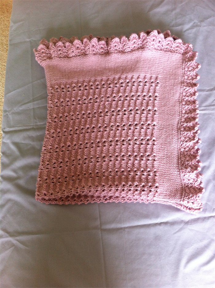 Pink Baby Blanket With A Scalloped Crocheted Edge Maree