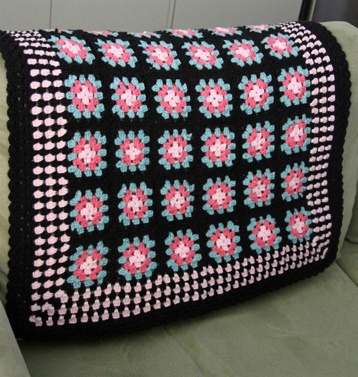 Crochet Baby Blanket Black Pink Teal Cotton Yarn