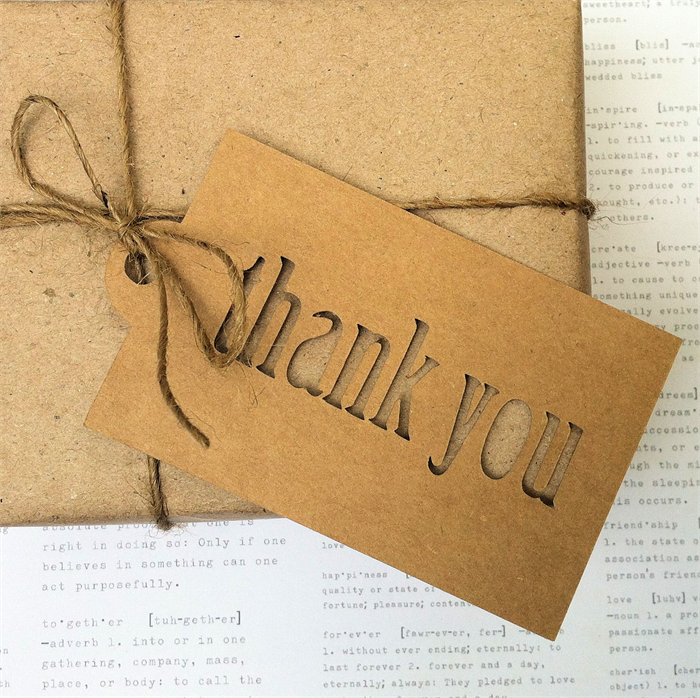 Thank You Gift Tags Original Design Large Hanging Rustic Christmas