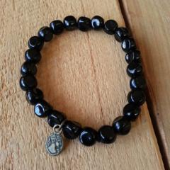 SALE Organic Black Glass Bead Bracelet