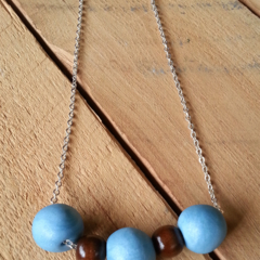 SALE Clay & Wood Necklace Blue