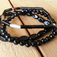 SALE Black Semi Precious Heart Bracelet