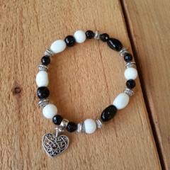 SALE Mixed Glass Heart White Bracelet