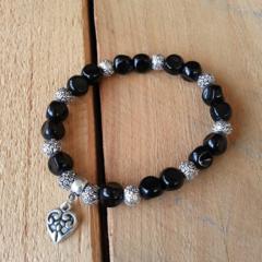 SALE Black Heart Bracelet